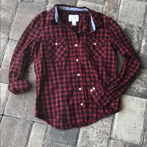 Forever21 black and red checkered button up, small